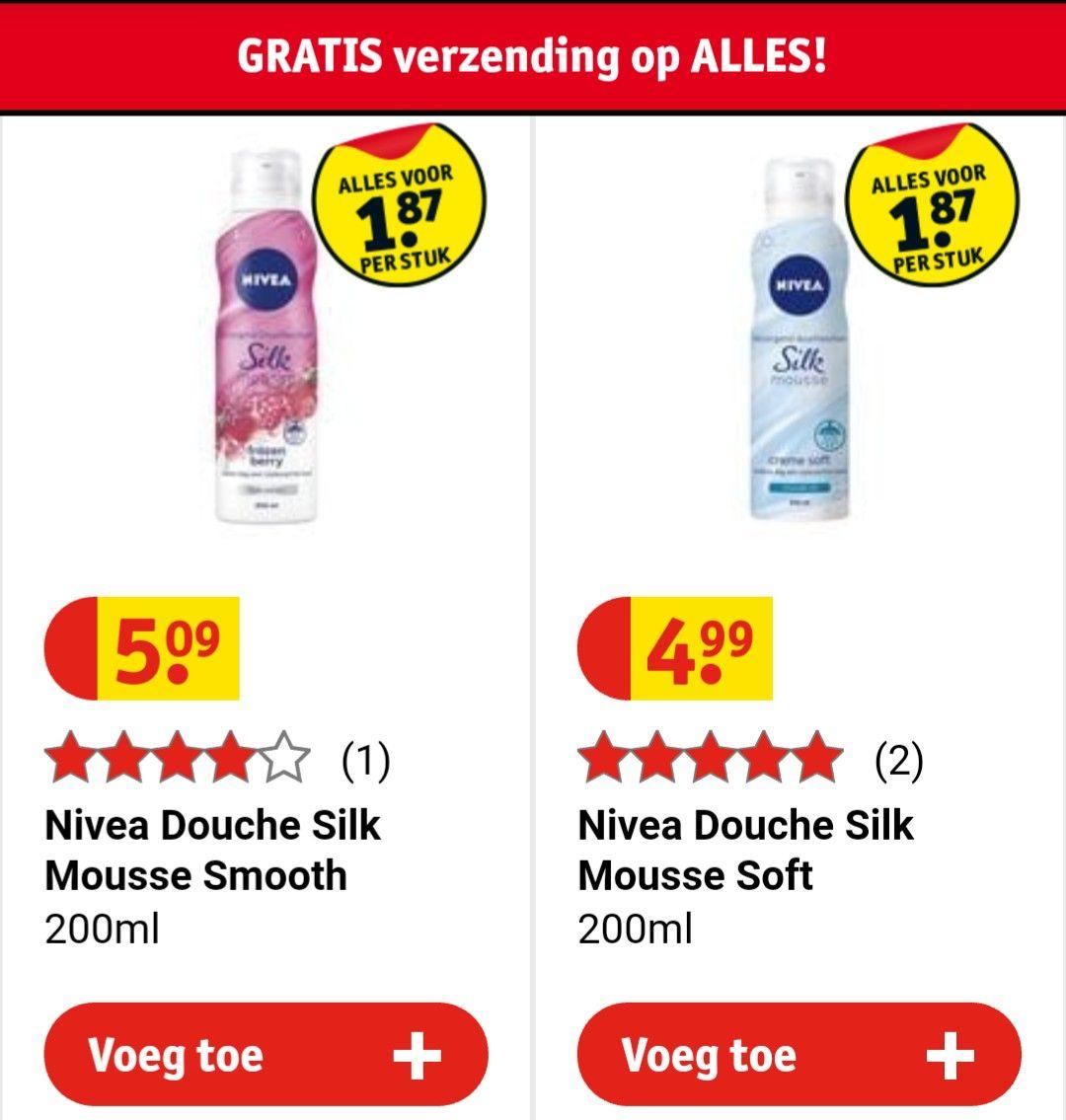 2 Nivea Douche foam voor €3,74 + gratis body mousse @ Kruidvat