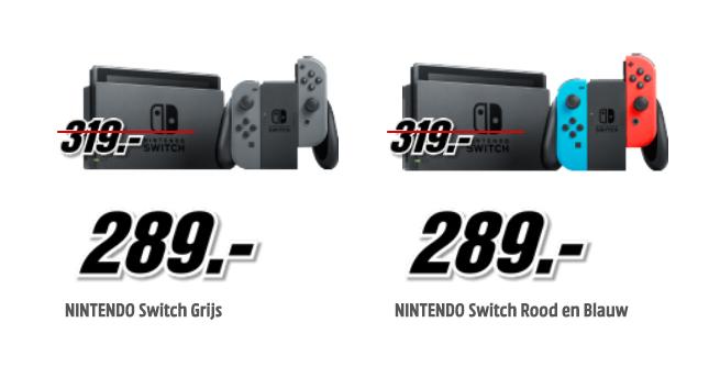Nintendo Switch voor €289 (grijs en rood/blauw) @ Media Markt