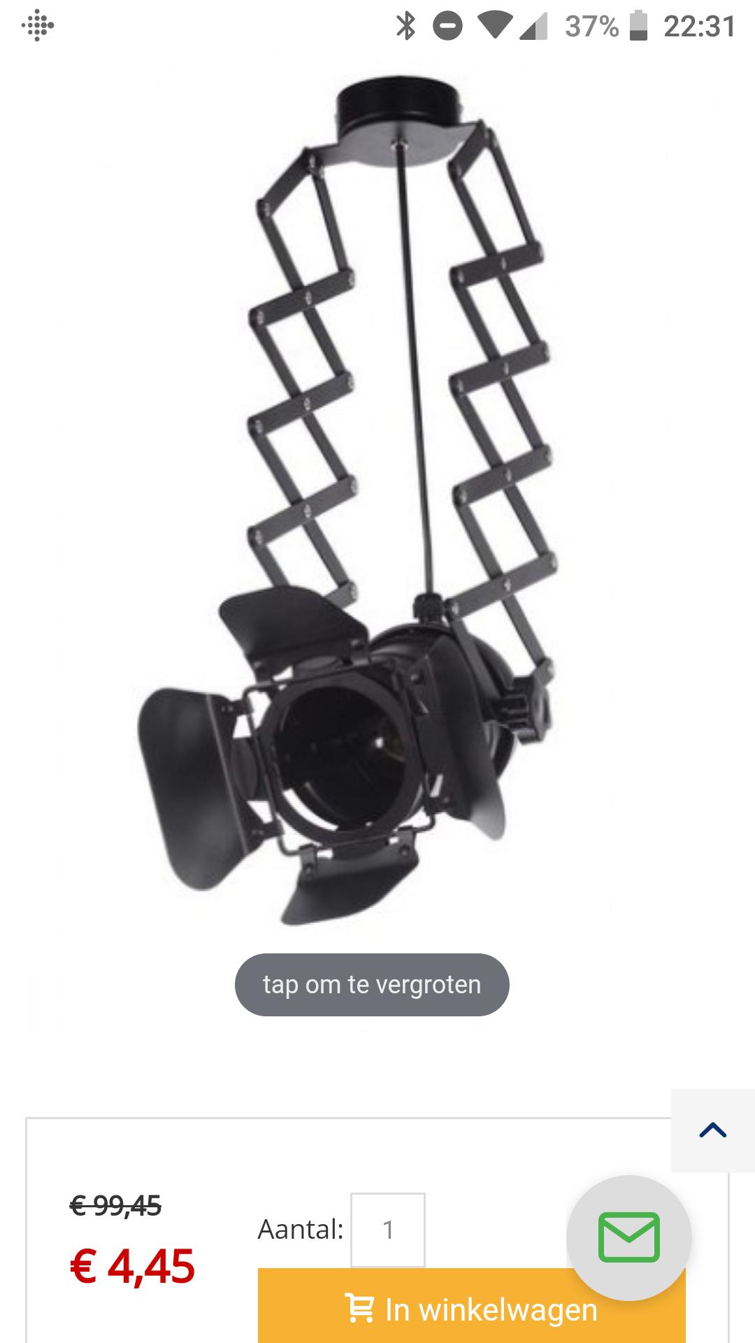 Vintage hanglamp voor €4,45 (prijsfout?) @ Lamp1.nl