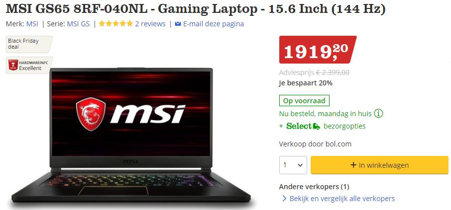 20% korting op veel MSI Gaming laptops