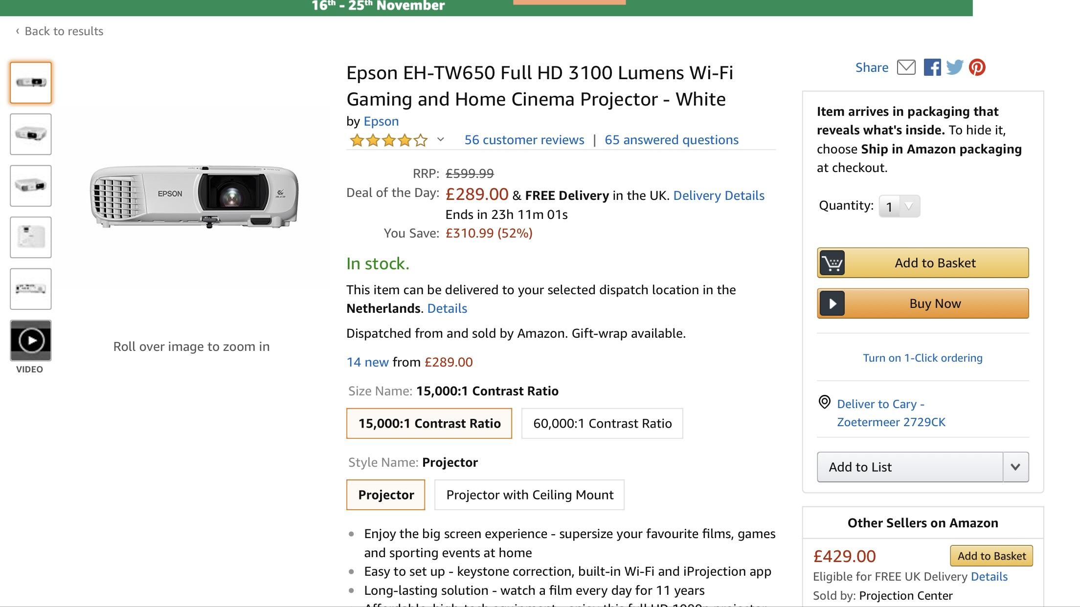 Epson ehtw650 full hd LCD projector €345 inclusief verzenden