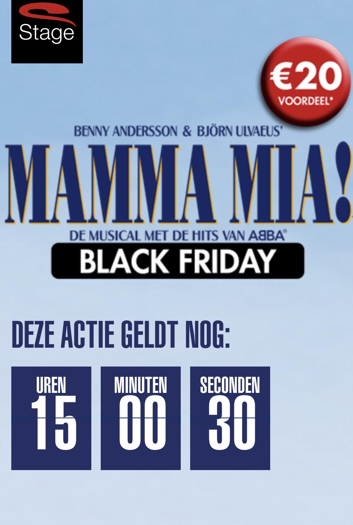 €20,- black friday korting op voorstelling MAMMA MIA