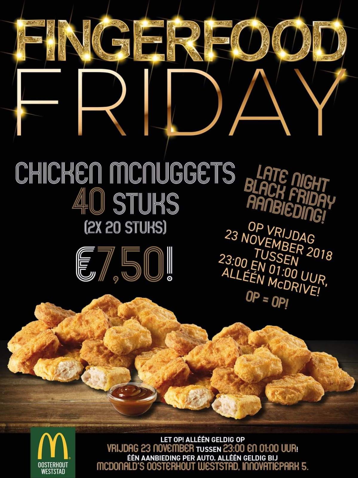 40 McNuggets voor 7,50 bij McDonald's Oosterhout Weststad