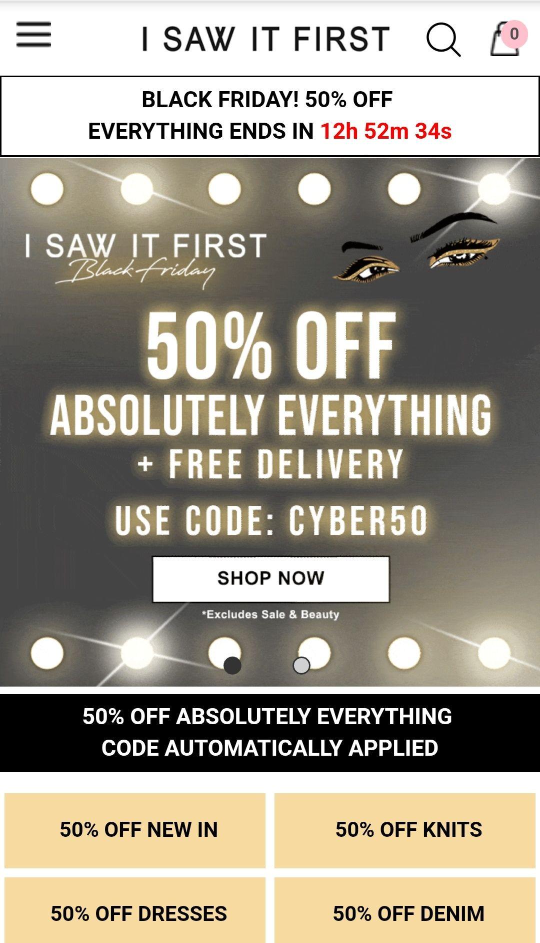 I saw it first BLACK FRIDAY 50% korting + gratis verzending