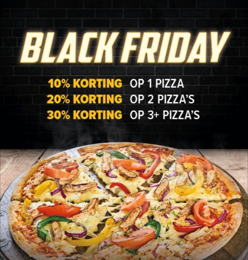 30% korting op 3 pizza's of meer bij Domino's