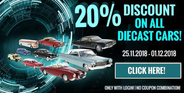 20% korting op alle modelauto's - Cyber Monday Deal @ModelCarWorld