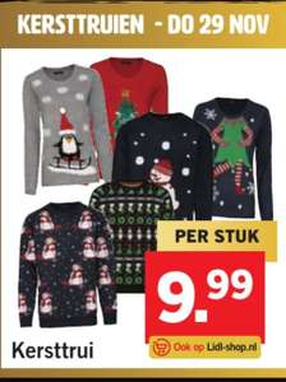 Kersttruien bij Lidl in de winkel en online. (voor kinderen 6.99)
