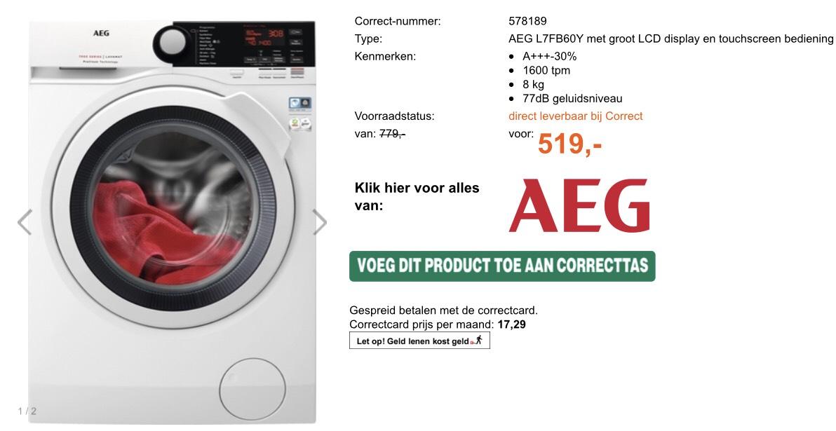 AEG L7FB60Y voor 549 (incl 30 verzendkosten) en 50 euro ICI paris cadeaubon