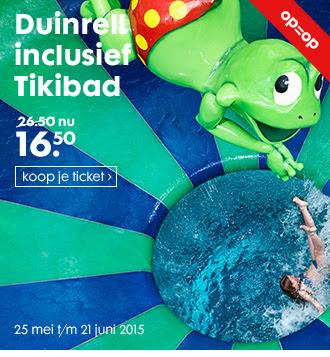 Dagentree Duinrell inclusief 2.5 uur Tikibad voor €16,50 @ HEMA