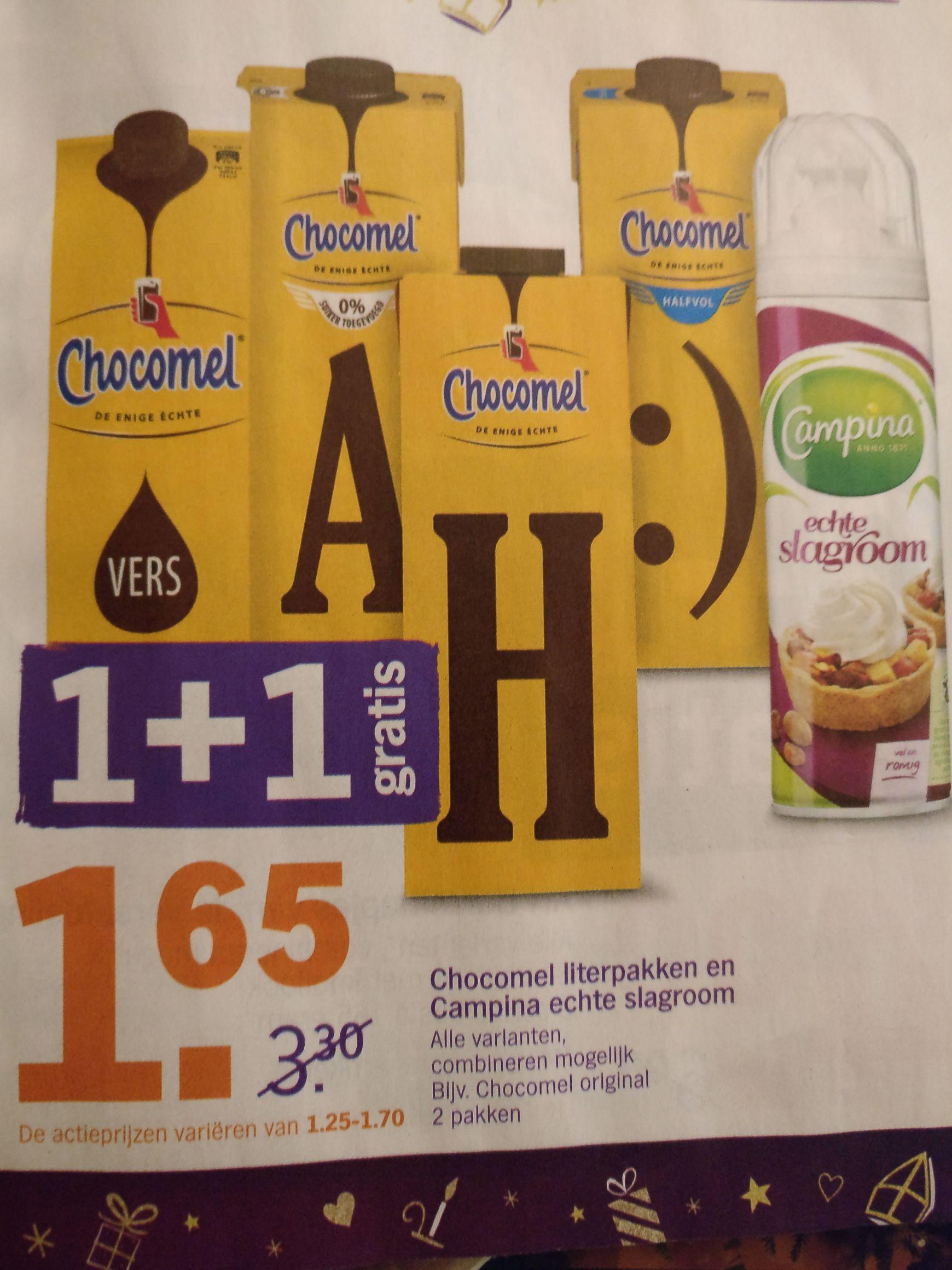 Chocomel 1+1 gratis bij Albert Heijn! Ook slagroom 1+1!