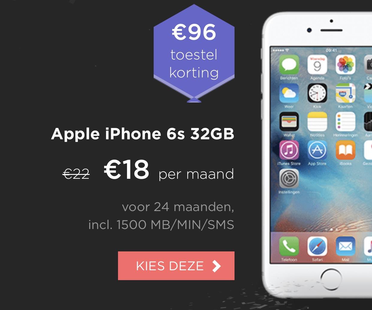 iPhone 6s 32GB met €96 korting bij hollandsnieuwe