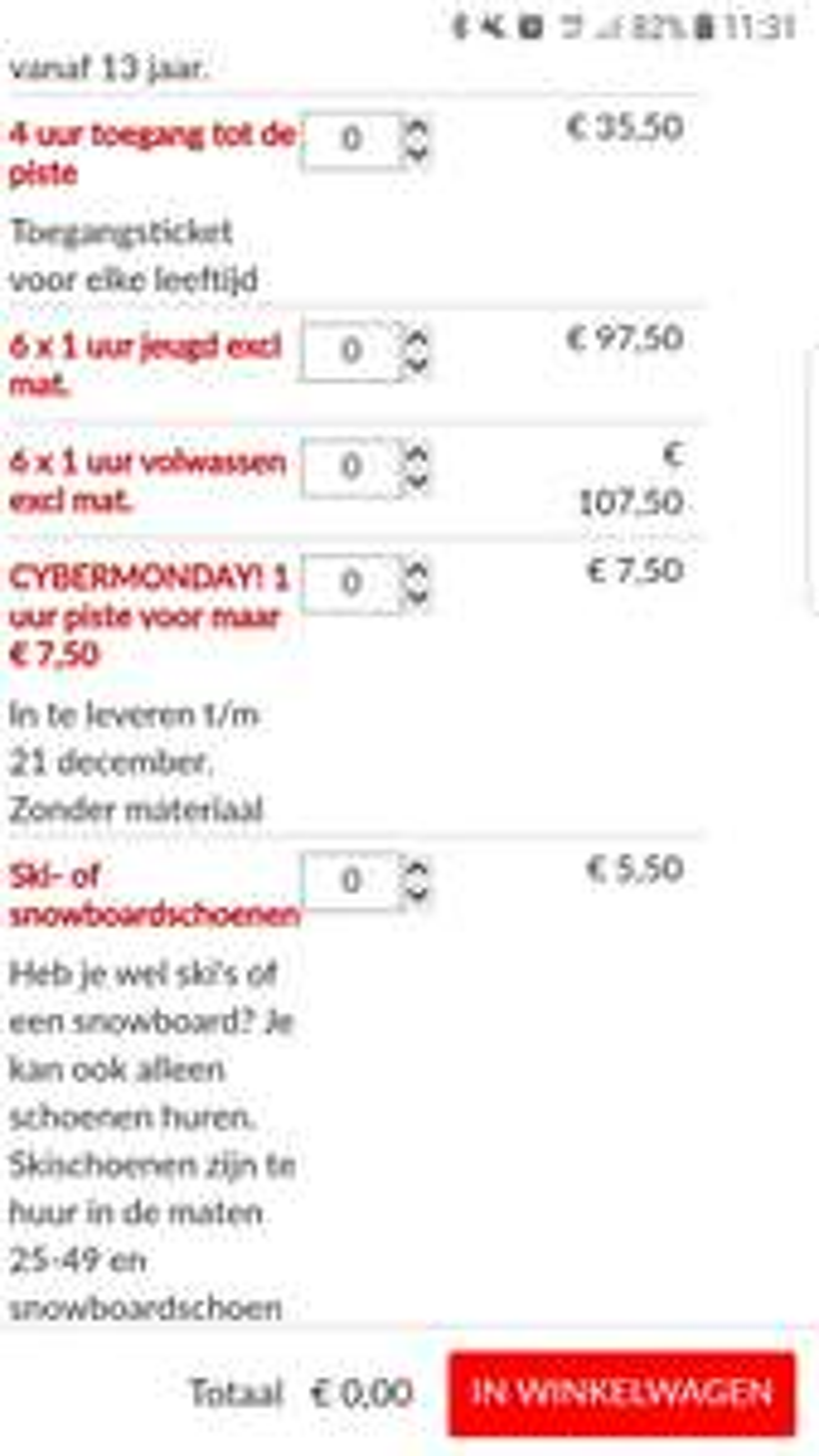 Snowplanet cyber Monday deal 63% korting