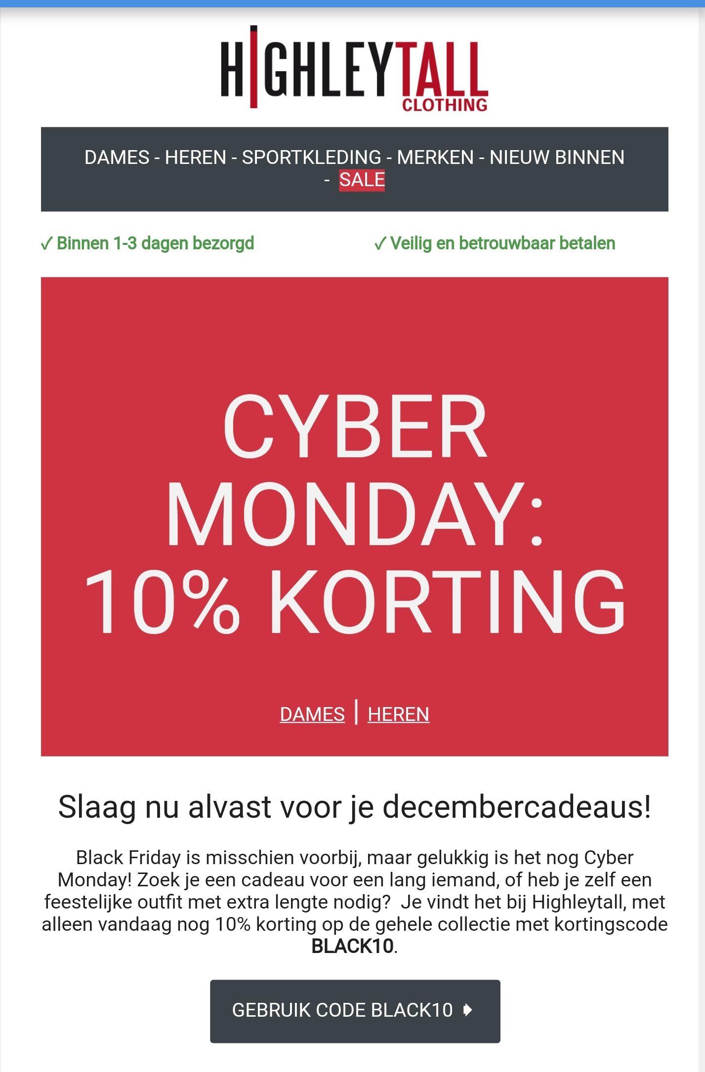 Highleytall - Black Friday / Cyber Monday 10% korting