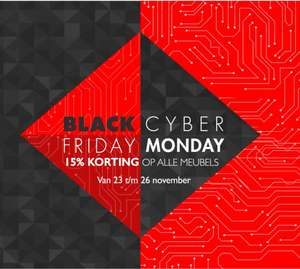 Cyber Monday | 15% korting op alle meubels