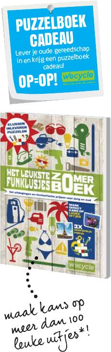 Gratis Puzzelboek cadeau bij inleveren van oud gereedschap of energiezuinige lampen @ Bouwmarkten