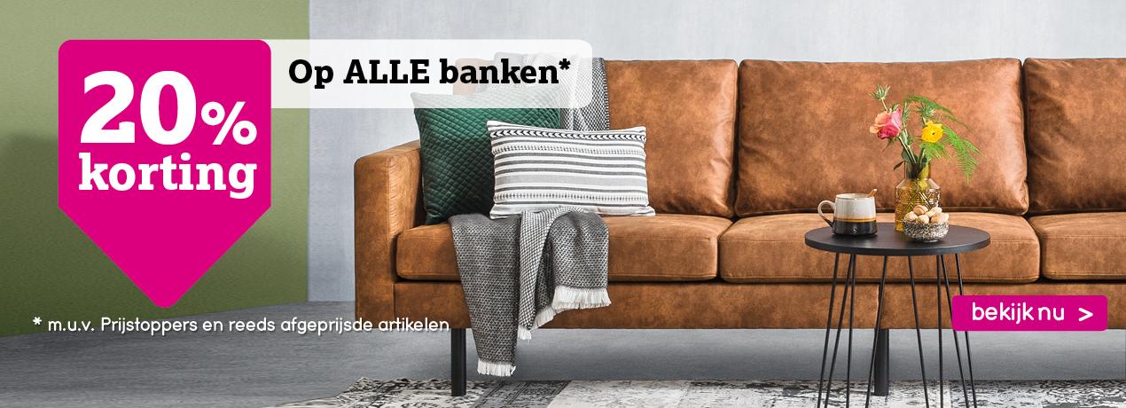 20% korting op alle banken bij Leenbakker