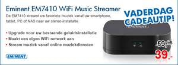 Eminent EM7410 WiFi Music Streamer voor €39 @ Informatique