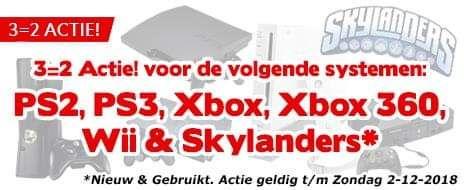 3 halen 2 betalen voor PS2 & 3, Xbox (360), Wii en Skylanders