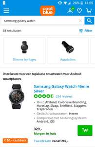Samsung Galaxy Watch 46mm met €30,- cashback @Coolblue