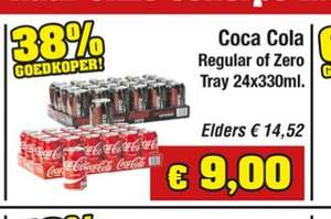 24 blikjes Coca Cola Regular of Zero voor €9,00 (Budgetfood)