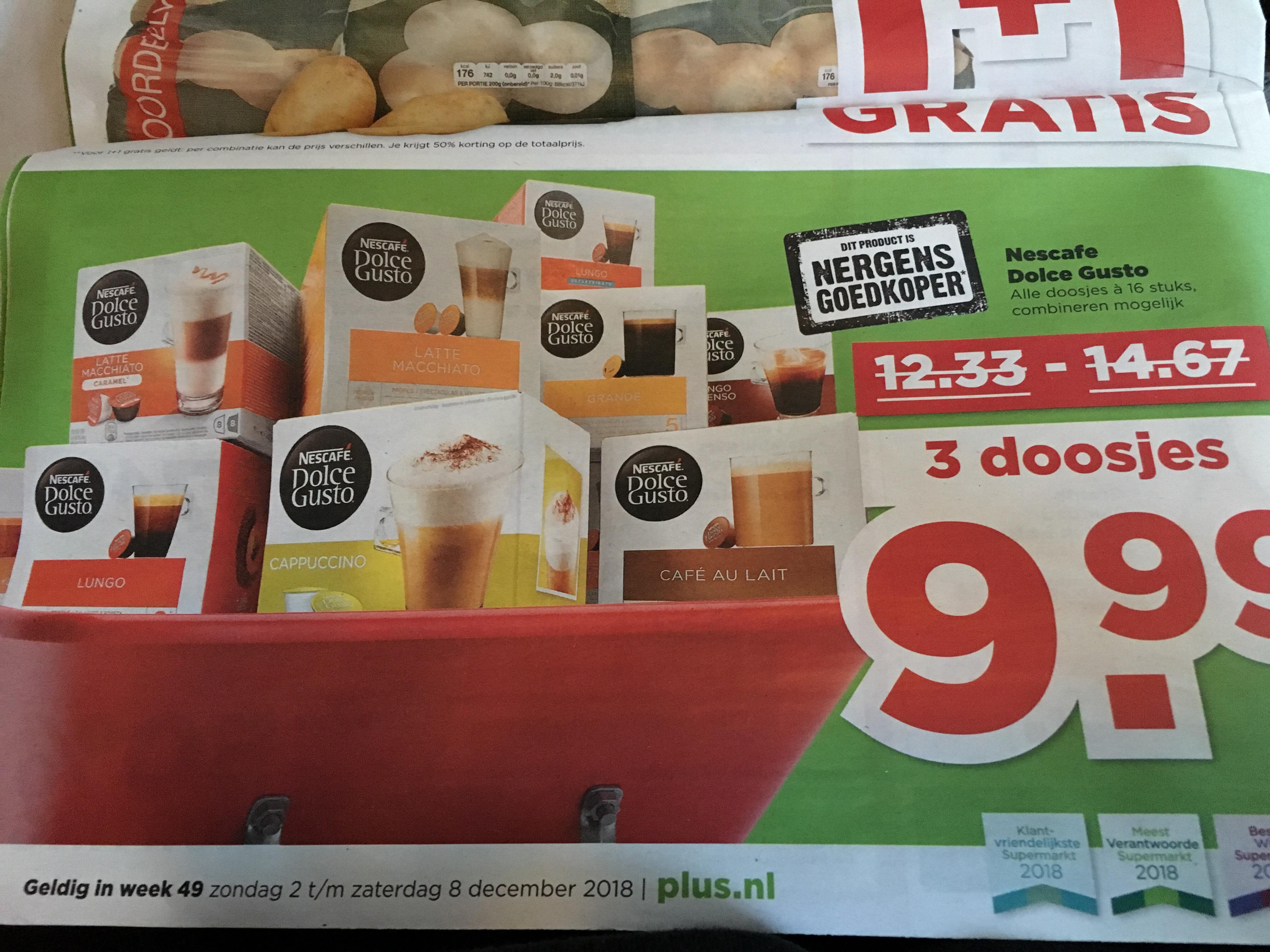 Nescafe Dolce Gusto 3doosjes €9,99 @Plus