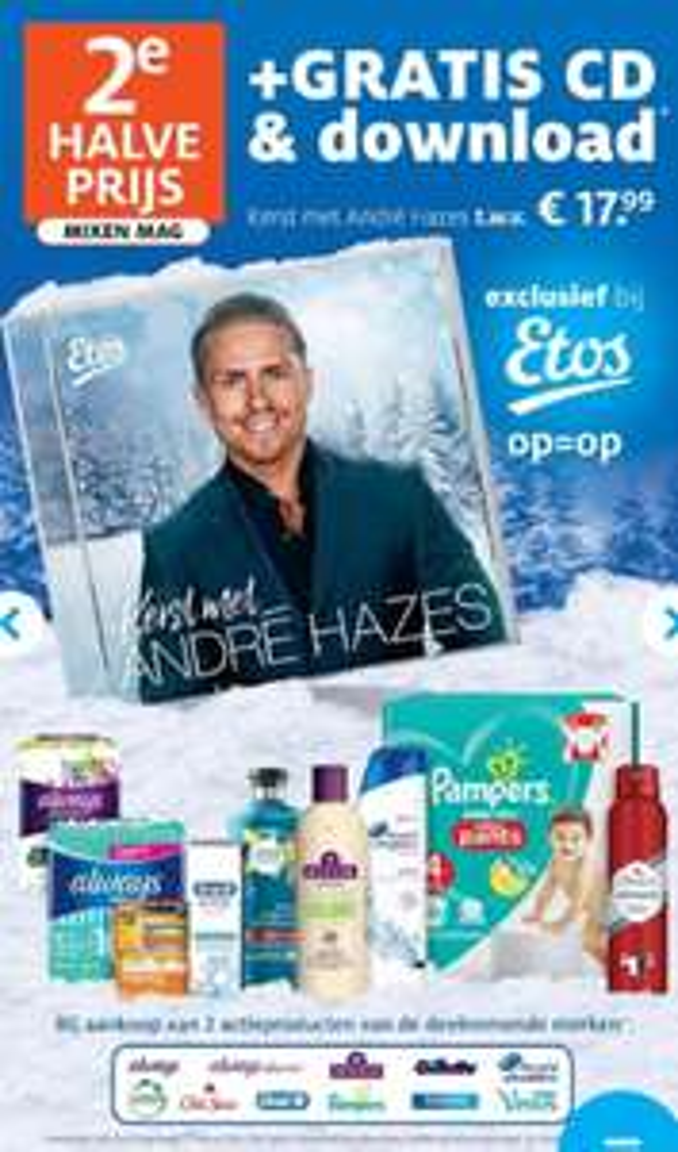 Gratis kerst CD & download van André Hazes Jr. t.w.v. €17,99 bij aankoop van 2 actieproducten exclusief bij Etos