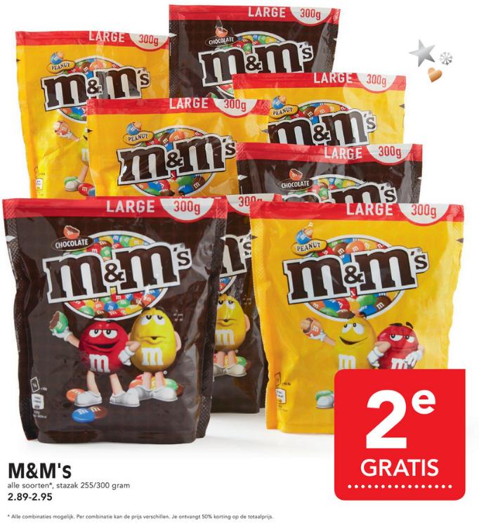 Alle M&M's 255/300 gram zakken 2de gratis bij Emté