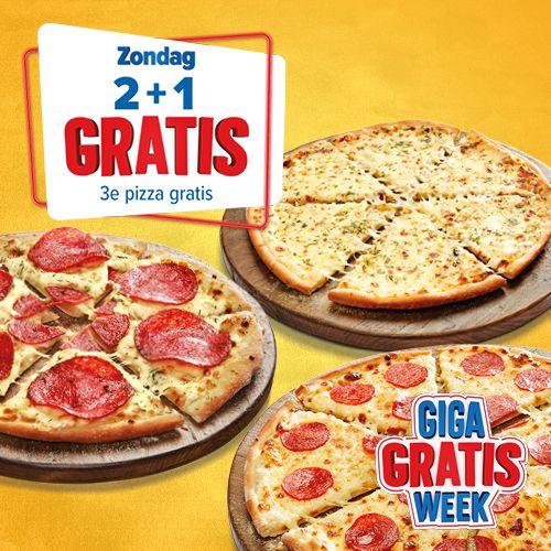 Domino's pizza. 3e pizza gratis! Ook bij bezorgen