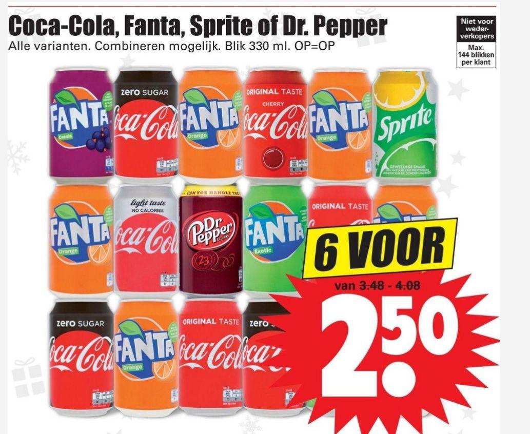 6 blikken Coca Cola, Fanta, Sprite of Dr. Pepper voor €2,50 || Dirk