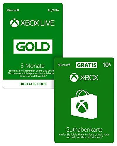 3 Maanden Xbox Live Gold + €10 tegoed @Amazon.de