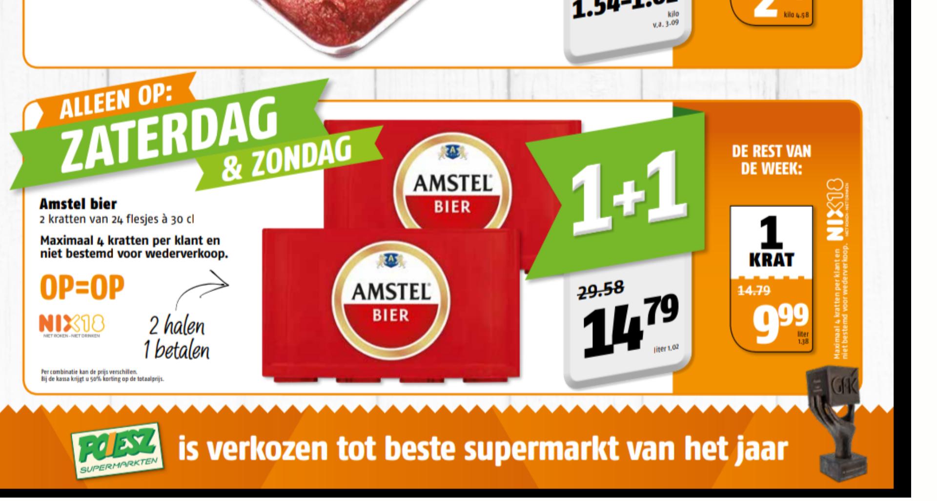 Weekendaanbieding: Amstel Bier 1+1 gratis bij Poiesz