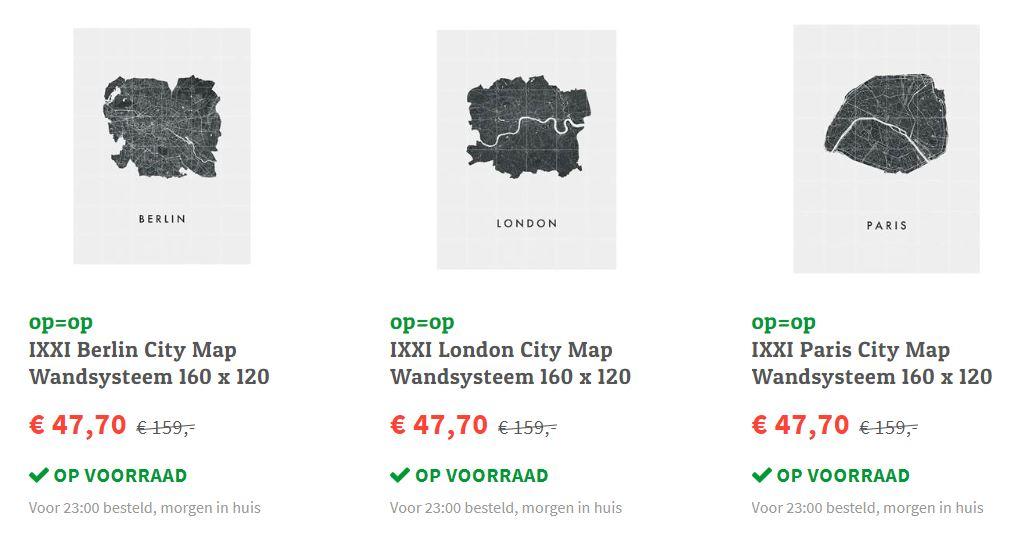IXXI City Map wandsysteem 160x120cm: -70% @ fonQ