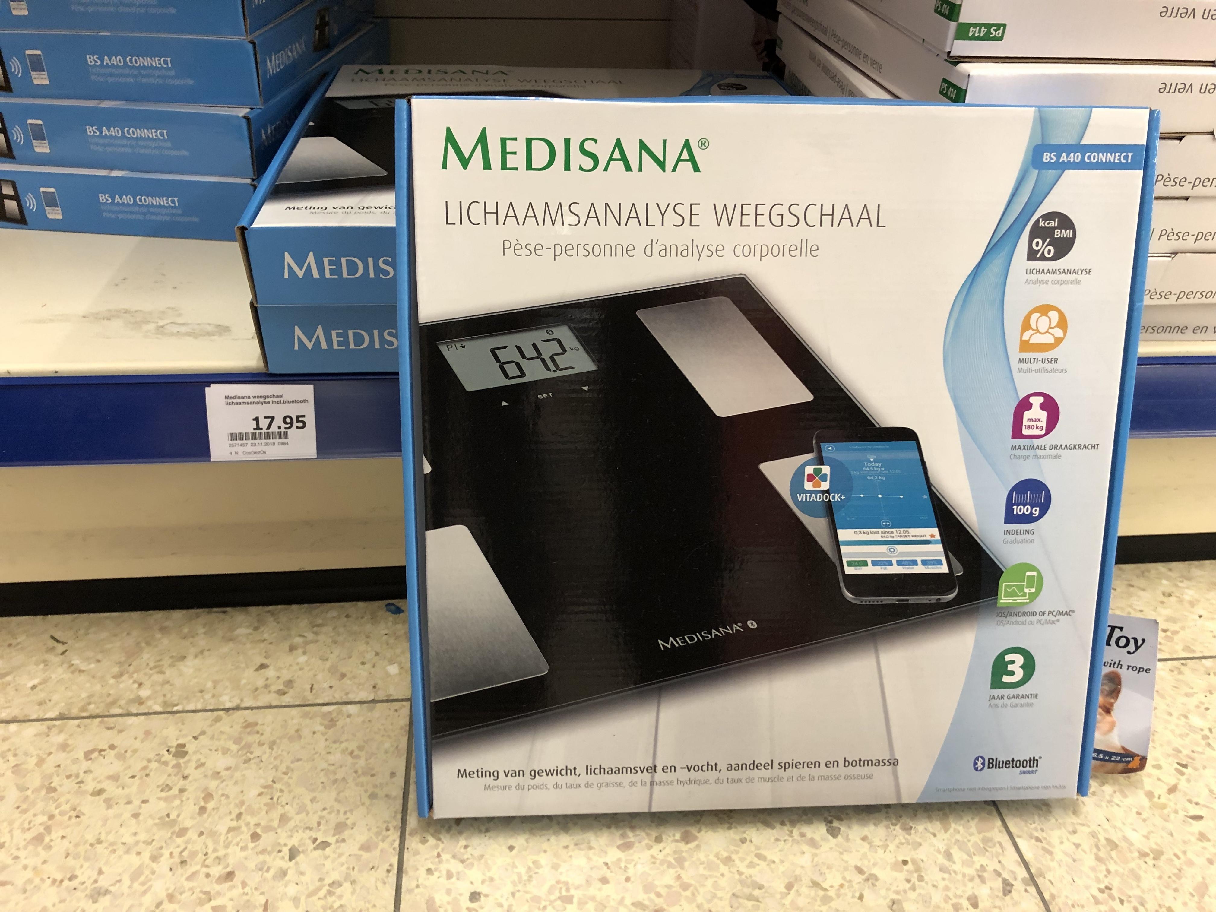 Medisana lichaamsanalyse-weegschaal met bluetooth, en Apple Health synchronisatie