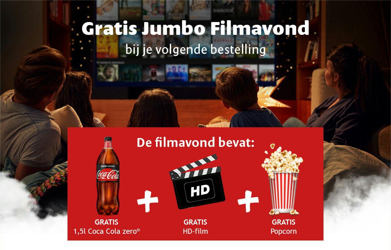 Gratis 1,5L Cola, Popcorn en Pathé thuis HD film bij online bestelling vanaf 25€  @Jumbo