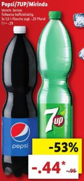 Pepsi/7UP/Miranda 1,5 Liter (-.29/liter) @ Lidl DE [Grensdeal]