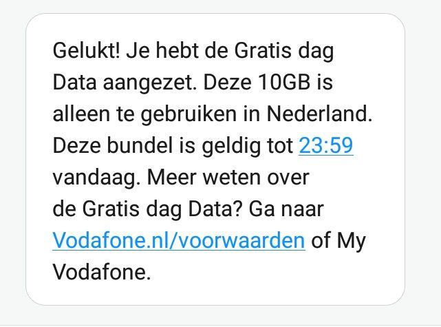 Gratis 10GB extra dagdata voor Vodafone klanten