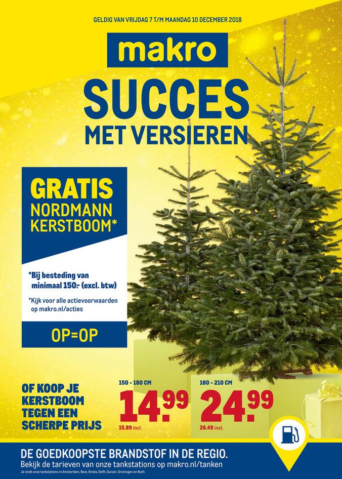 Gratis Nordmann kerstboom bij besteding van 150,00 ex btw bij de Makro