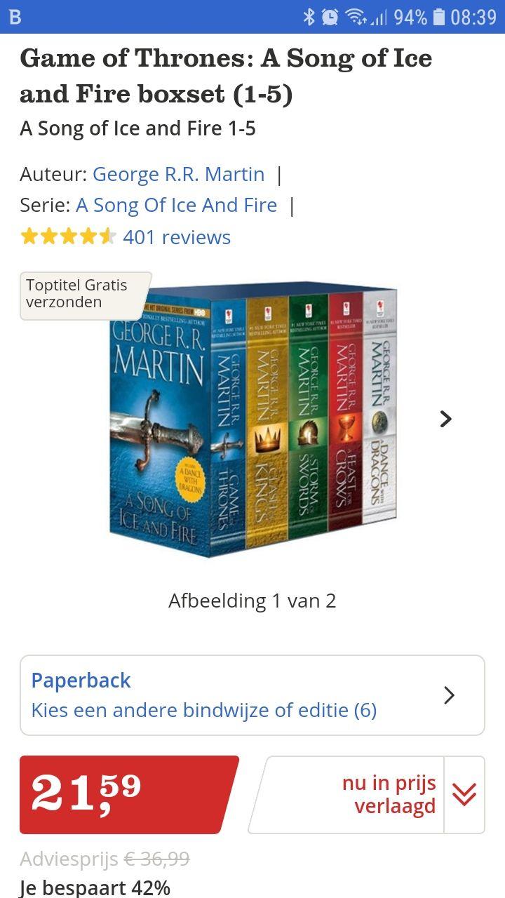 Game of Trones boeken 1-5 bij Bol.com