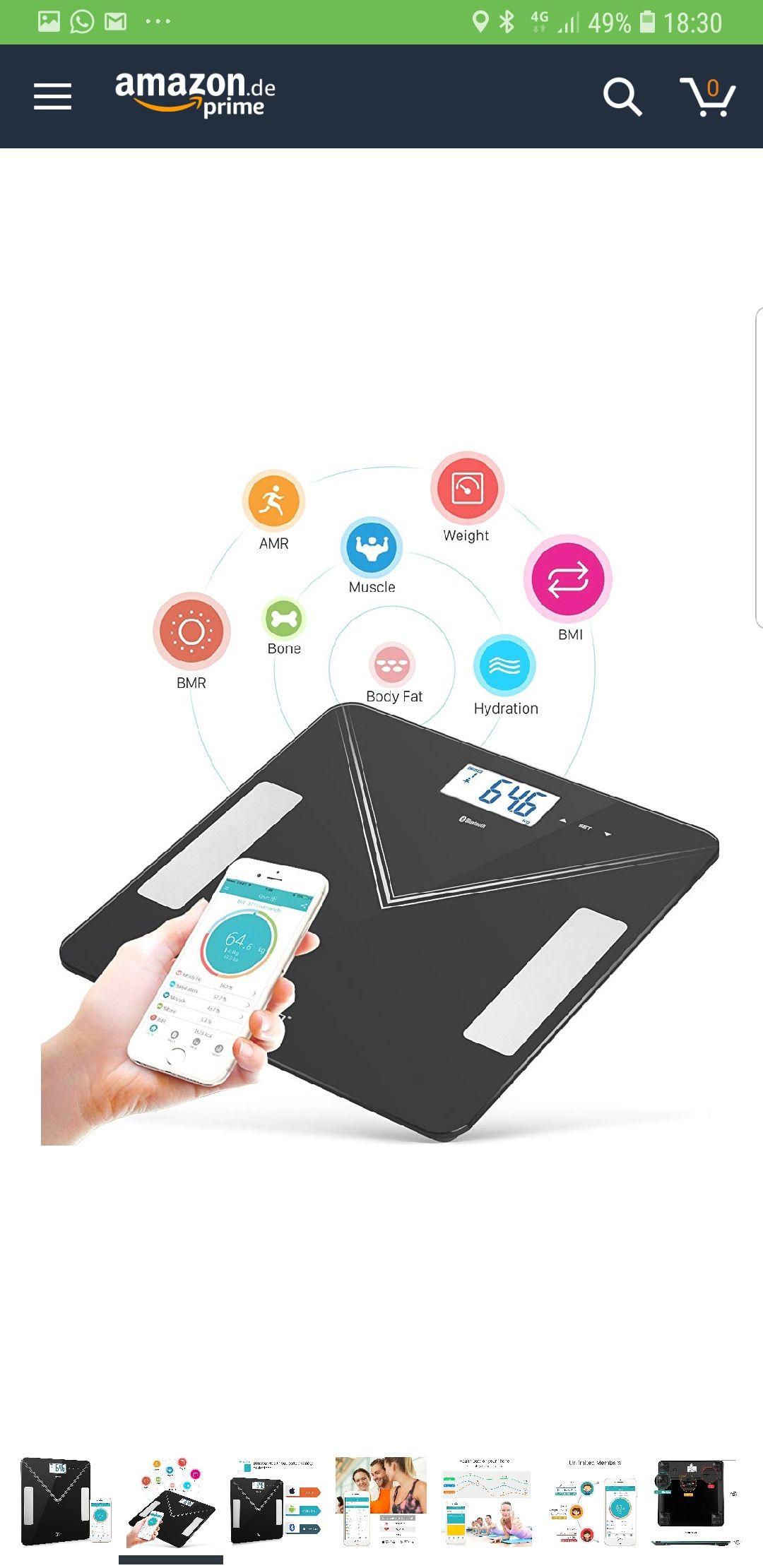 [Amazon Prime] Lichaamsvetschaal / Personenweegschaal met Bluetooth en App, Google Fit en Apple Health-compatibel
