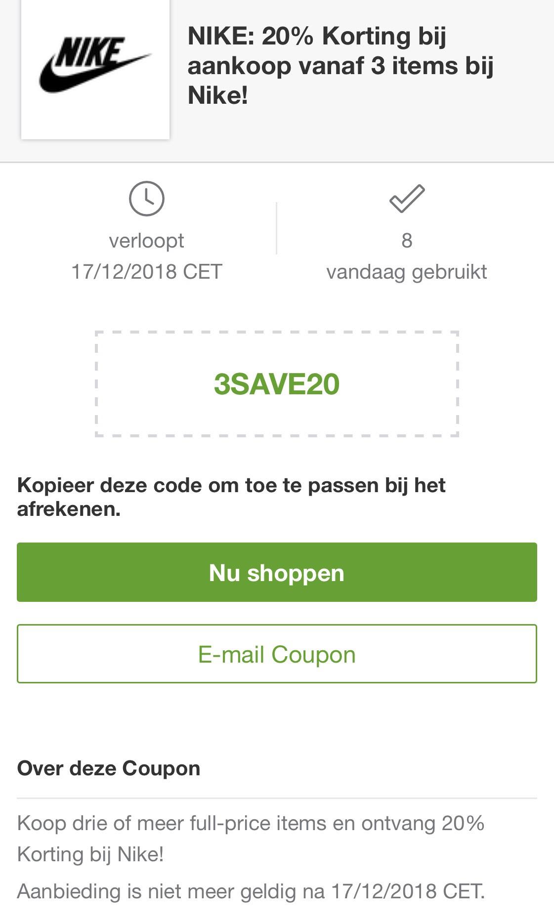 20% korting bij 3 items op Nike.com