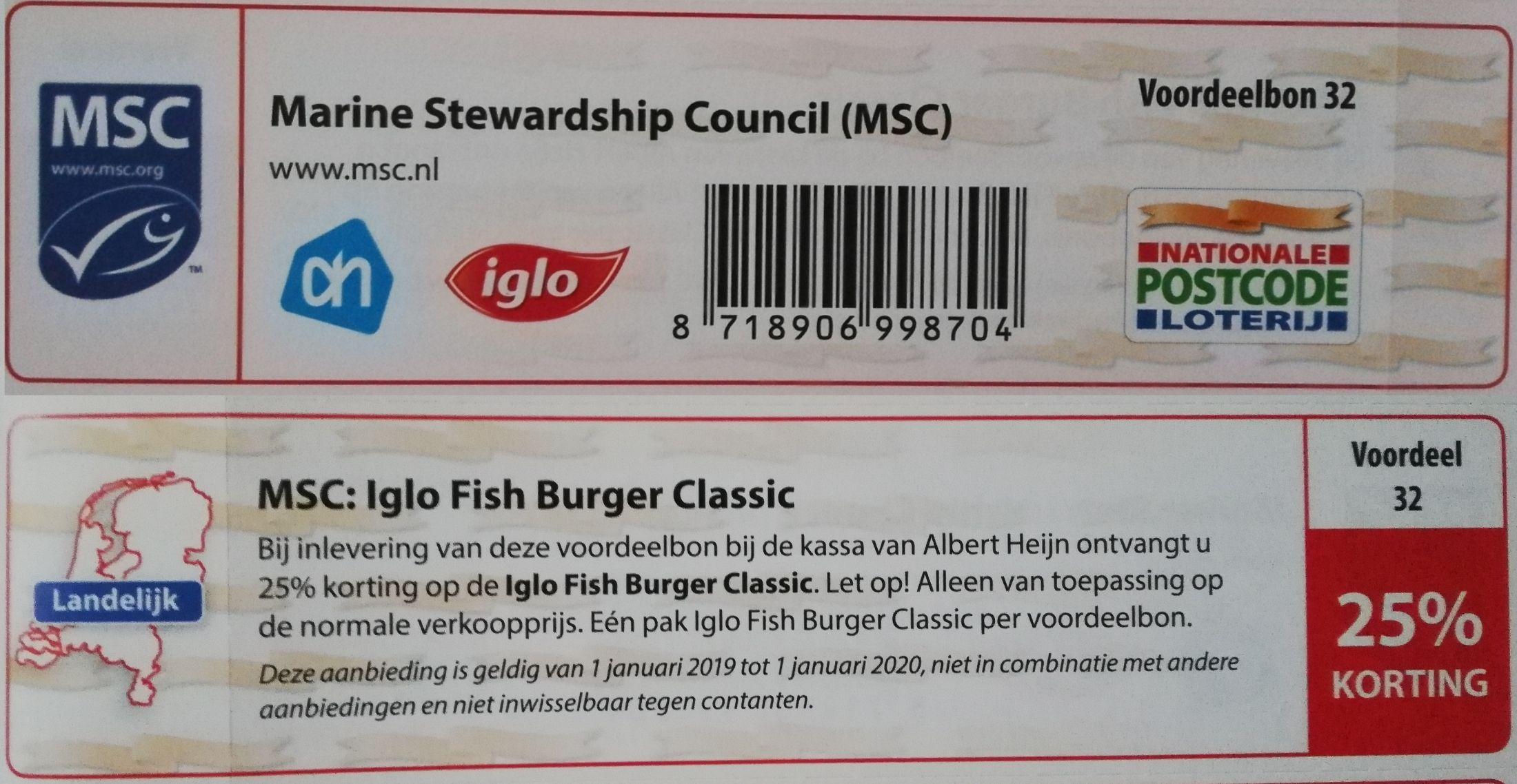 25% korting op MSC: Iglo Fish Burger Classic