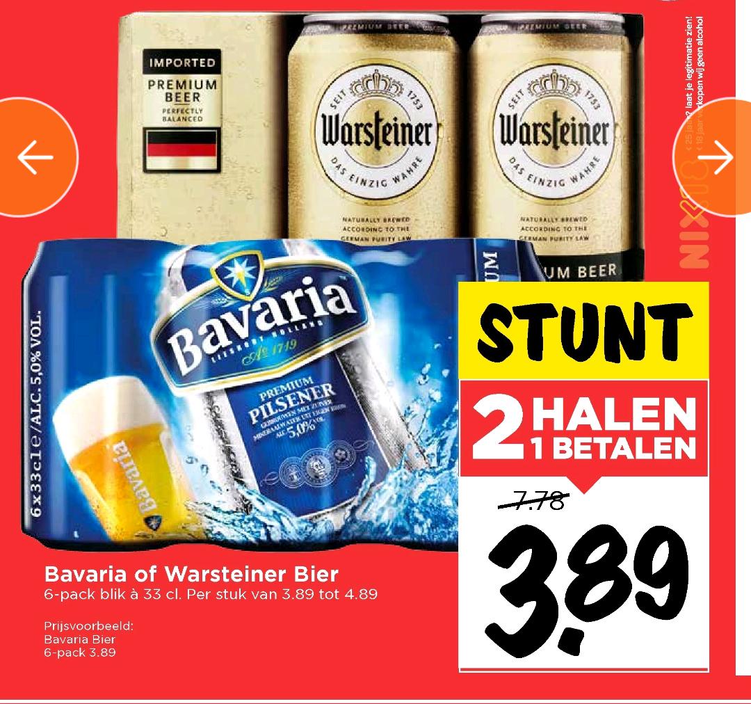 Bier 2e gratis, sixpack Warsteiner of Bavaria @ Vomar