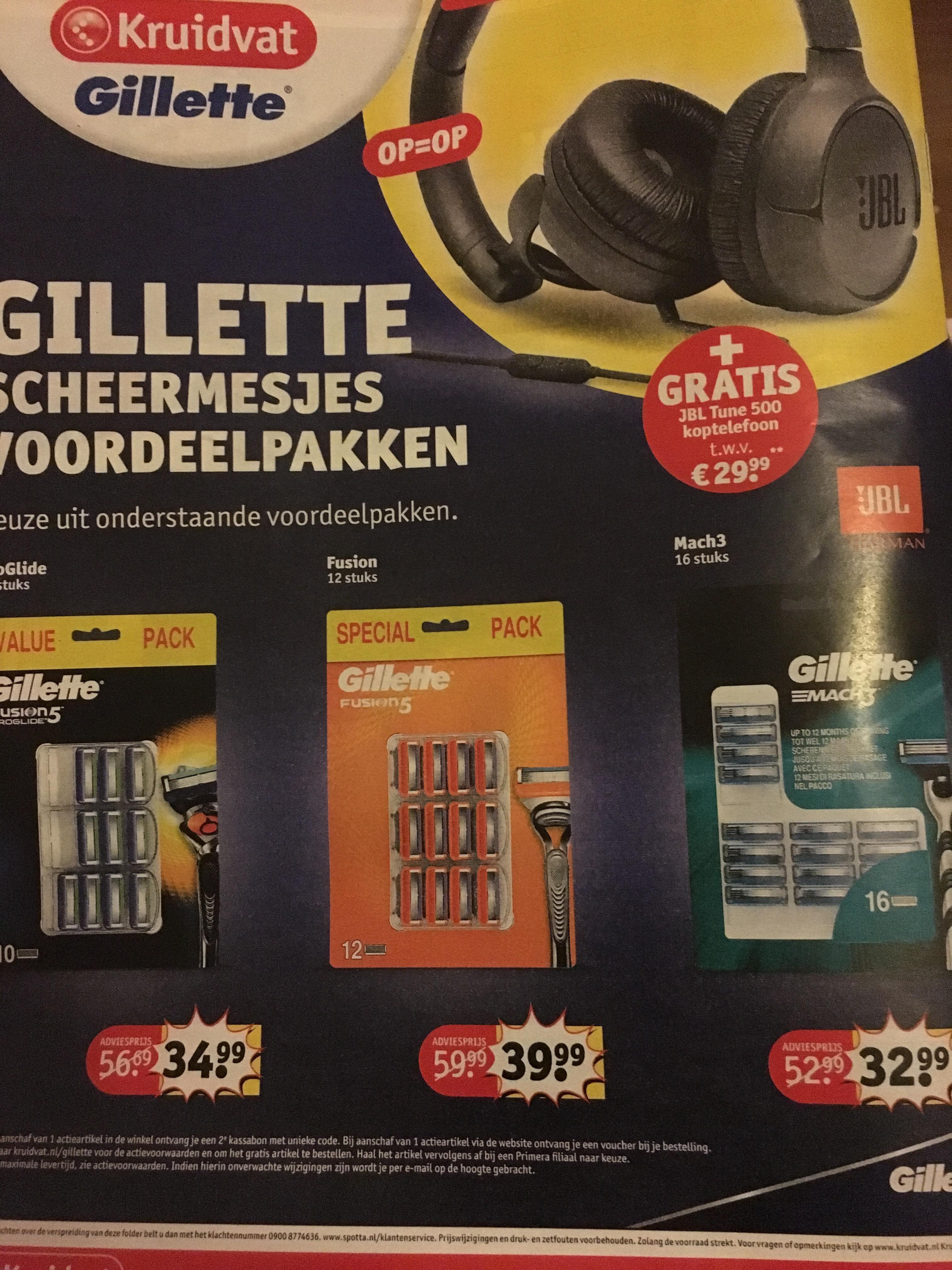 Gratis JBL Tune 500 koptelefoon t.w.v €29,99 bij aankoop van Gillette scheermesjes voordeelpakken