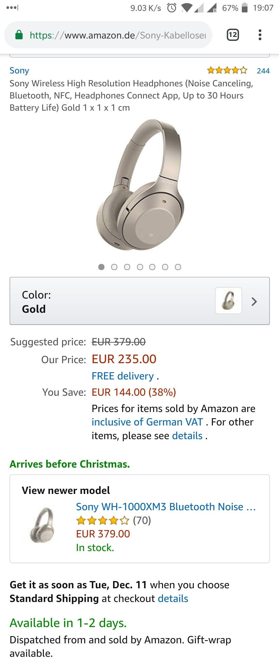 Sony Draadloos Noise Cancelling Koptelefoon WH-1000XM2 @ €235 - amazon.de
