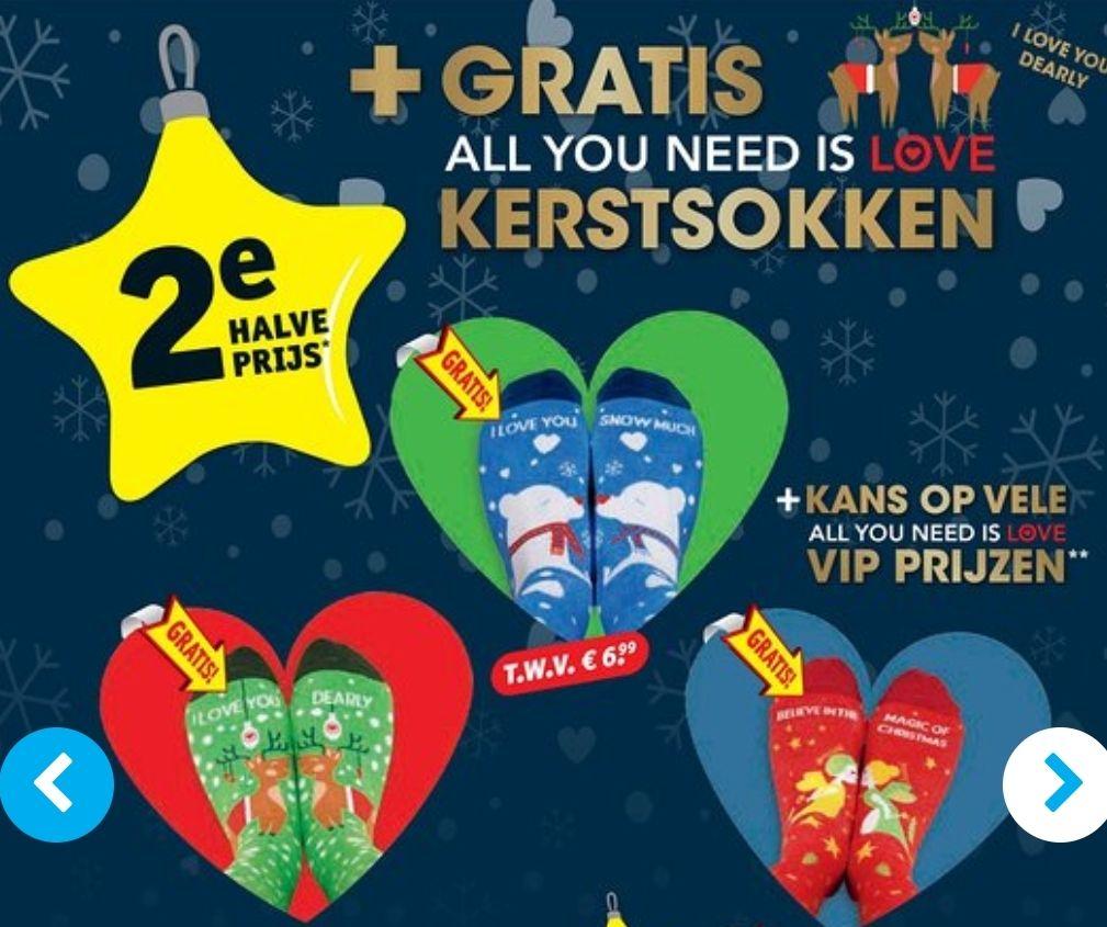 Gratis All You Need Is Love kerstsokken bij aankoop van 2e halve prijs producten @Kruidvat