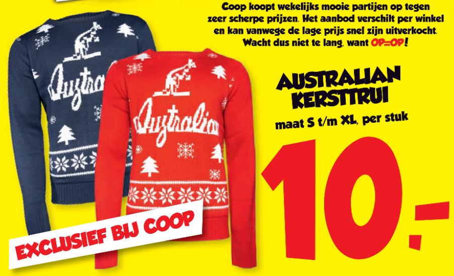 Australian kersttrui €10,- (Coop)