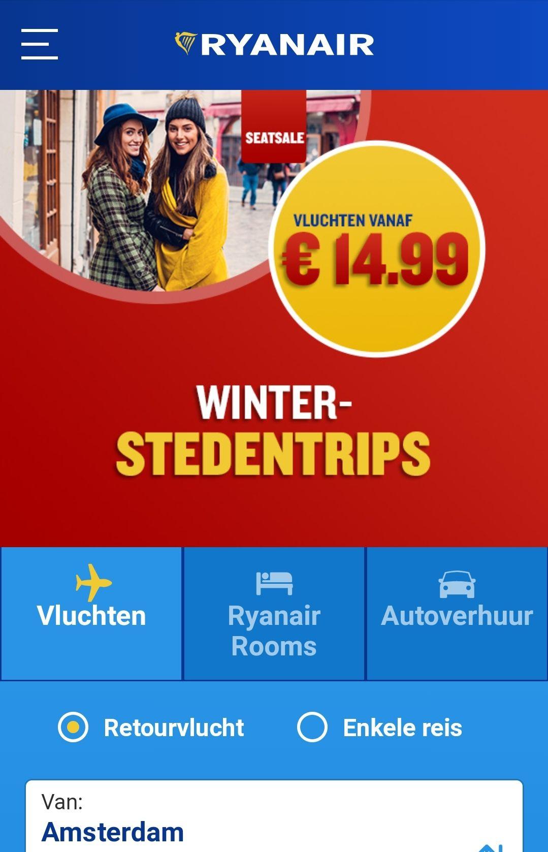 Winteraanbieding bij Ryanair. Vluchten vanaf €7.82