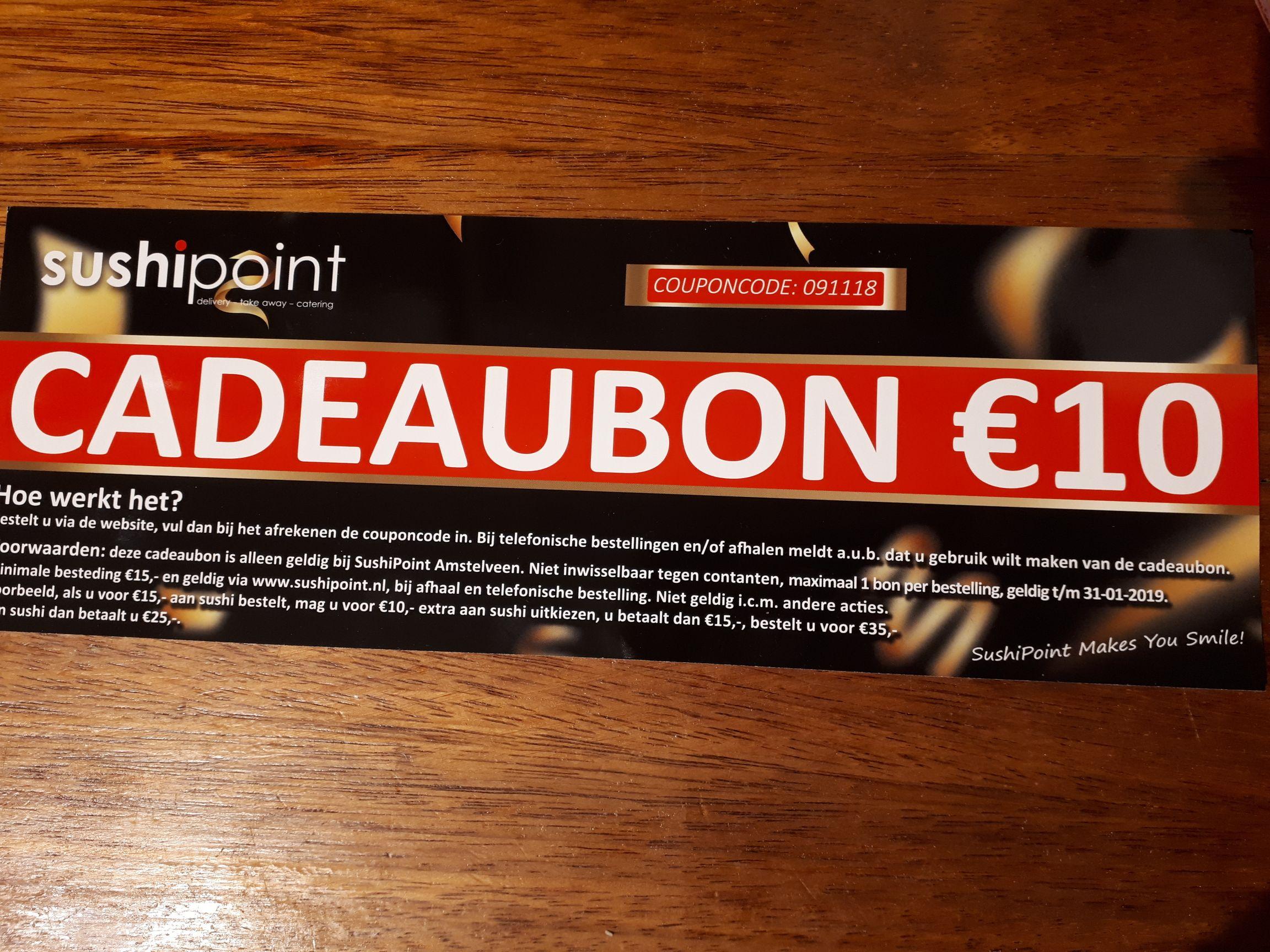 10 euro korting sushipoint Amstelveen