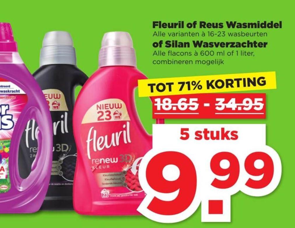 Tot -71% korting op wasmiddelen > 5 stuks €9,99 @Plus