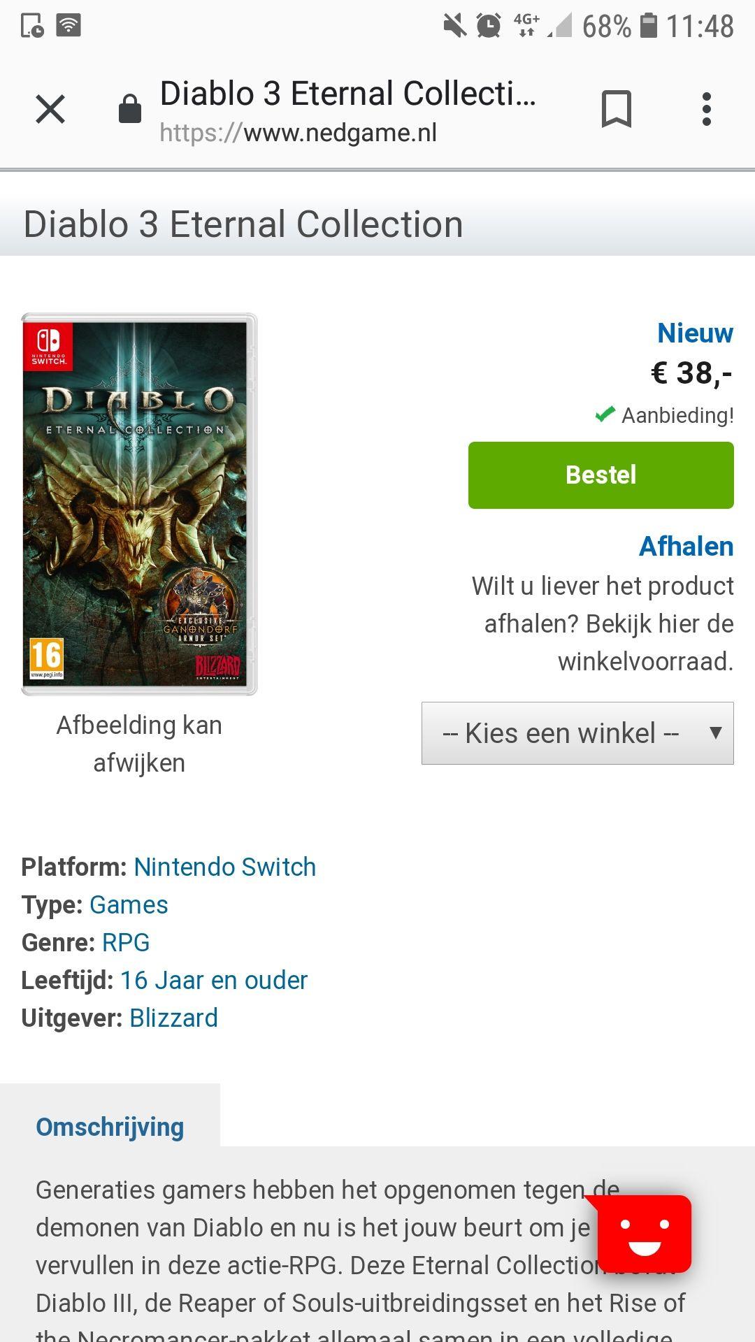 Diablo 3 nintendo switch nu voor 38 euro bij nedgame (normaal 60 euro)